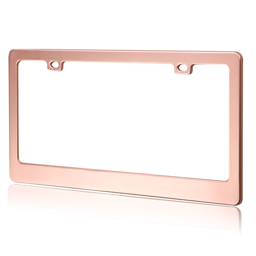 matte rose gold license plate frame for