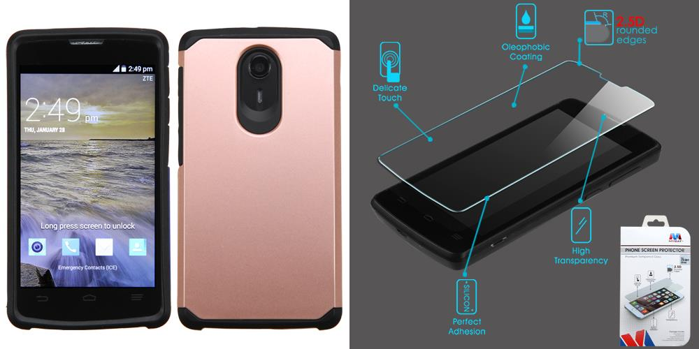 Combo pack ASMYNA Rose Gold/Black Astronoot Phone Protector Cover for ZTE  N817 (Uhura) And MYBAT Tempered Glass Screen Protector (2 5D) for ZTE N817