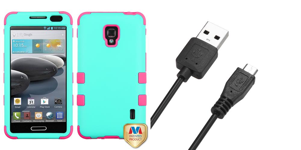 Combo pack MYBAT Rubberized Teal Green/Electric Pink TUFF Hybrid Phone  Protector Cover for LG D500 (Optimus F6) LG MS500 (Optimus F6) And MYBAT  Black