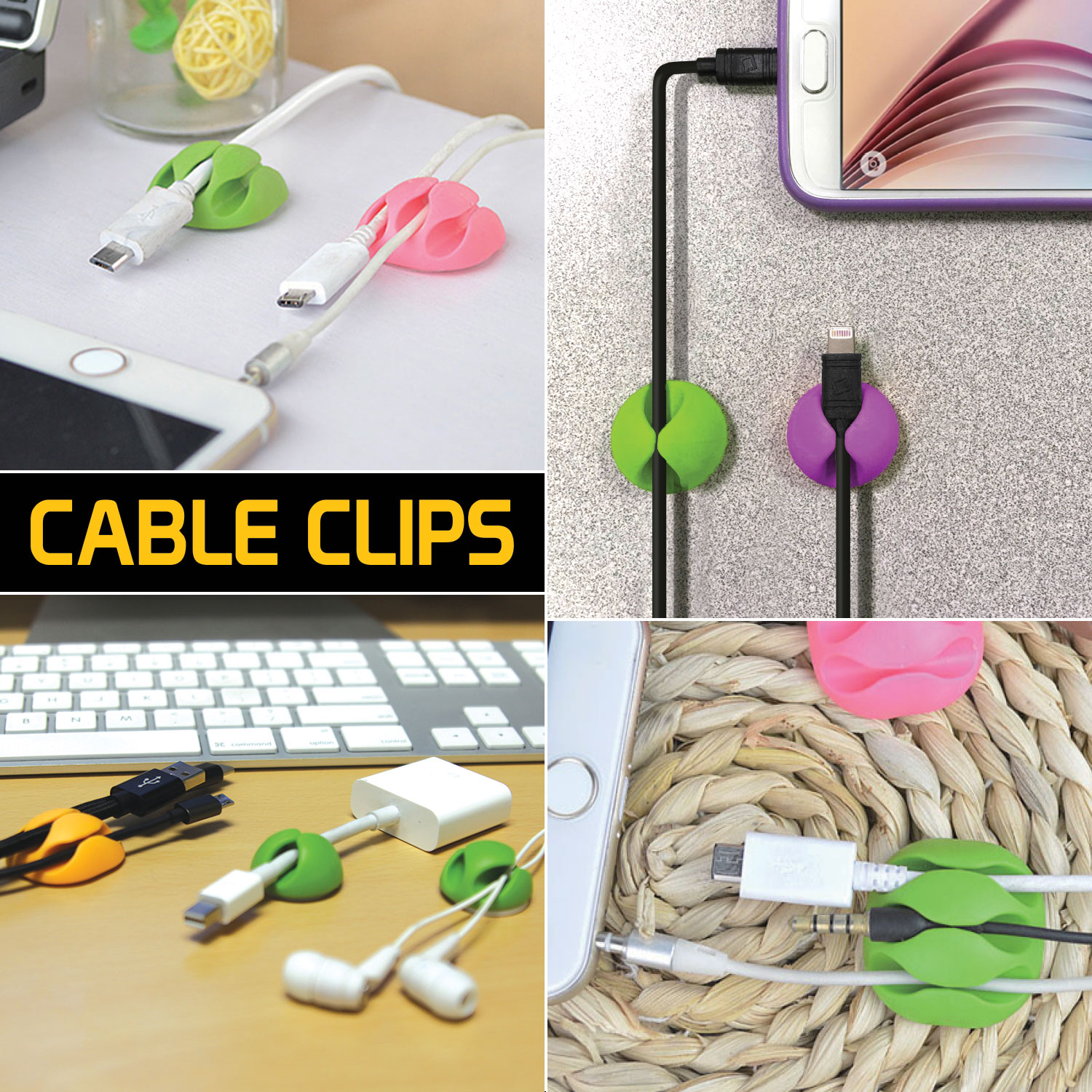 Cable Clips Multi Purpose Self Adhesive Cable Organizer