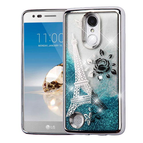Silver Electroplating/Eiffel Tower/Blue Quicksand Glitter Hybrid Protector  Cover for LG MS210 (LV3) LG K4 (2017) LG L58VL (Rebel 2)