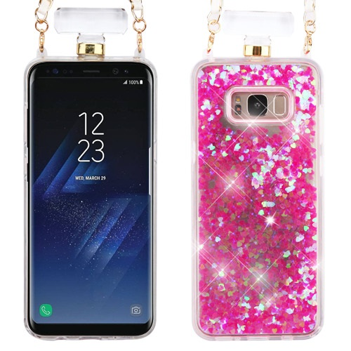 the best attitude 93ef7 b4028 Details about Pink Quicksand Glitter Perfume Bottle Cover Chain SAMSUNG  Galaxy S8 Plus
