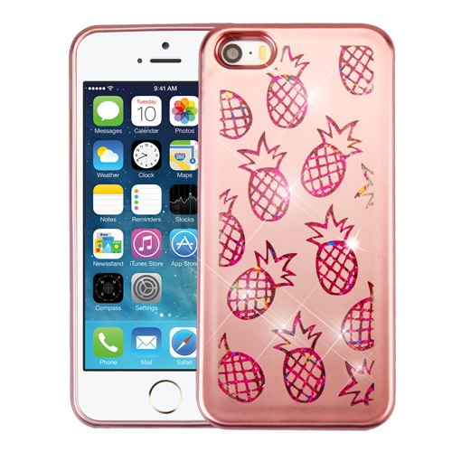 buy online e9c43 f81a2 Details about Rose Gold Pineapple Hot Pink Confetti Quicksand Glitter APPLE  iPhone 5s 5 SE