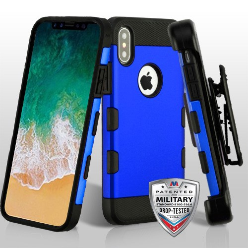 5d9a858814e317 Titanium Dark Blue Black TUFF Trooper Hybrid Protector Cover   Military-Grade Certified (with Black Horizontal Holster) for APPLE iPhone  XS X
