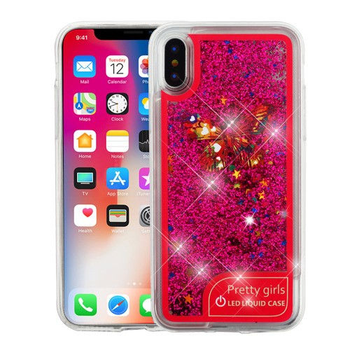 Colorful Butterfly/Hot Pink Confetti Flashing LED Light Quicksand Glitter  Hybrid Protector Cover for APPLE iPhone XS/X