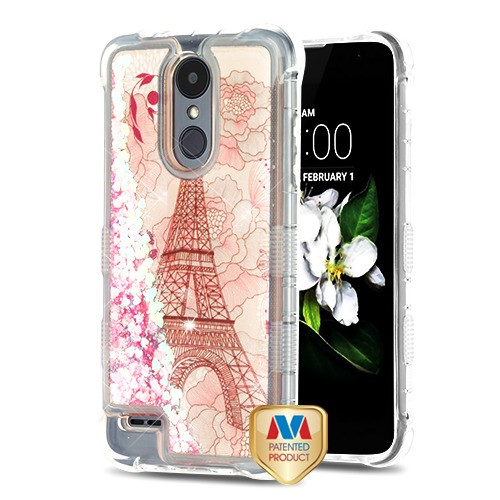 Eiffel Tower/Pink Hearts TUFF Quicksand Glitter Lite Hybrid Protector Cover  (with Package) for LG X210 (Aristo 2) LG K8 (2018) LG Zone 4 LG Fortune 2