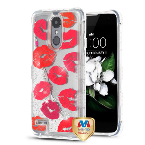 Blissful Kisses/Silver TUFF Quicksand Glitter Lite Hybrid Protector Cover  (with Package) for LG X210 (Aristo 2) LG K8 (2018) LG Zone 4 LG Fortune 2  LG