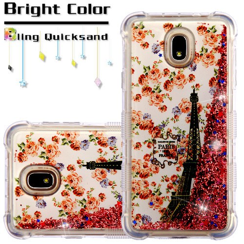 Paris in Full Bloom/Rose Gold Flowing Sparkles TUFF Quicksand Glitter Lite  Hybrid Protector Cover (with Package) for SAMSUNG J737P (Galaxy J7 (2018))