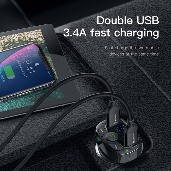Baseus Black T Typed S-09A Wireless MP3 Car Charger