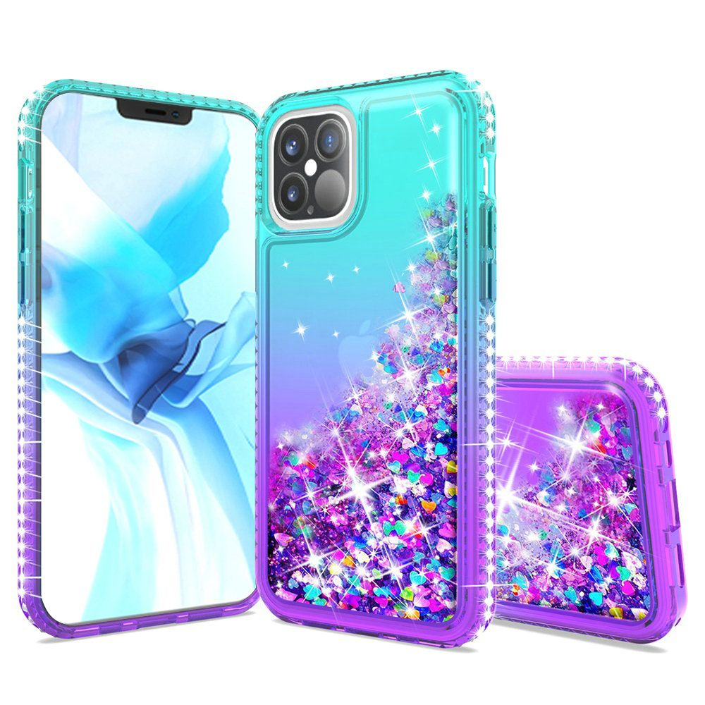 For Apple iPhone 12 6.7 inch Two Tone Diamond Water ...